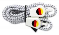 YANKZ-Schnürsystem (Farbe: Reflektierend Weiß/Schwarz) Deutschlandflagge