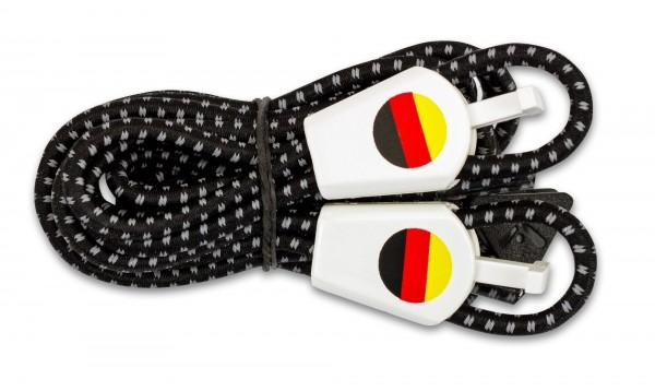 YANKZ-Schnürsystem (Farbe: Reflektierend Schwarz/Weiß) Deutschlandflagge